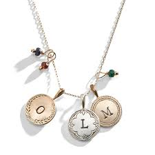 custom charm necklace vintage engraved initial charm necklace