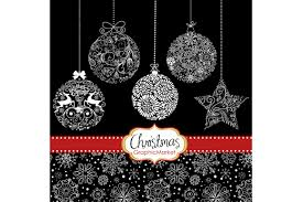 christmas silhouettes ornaments ball illustrations creative market