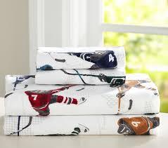 Hockey Bedding Set Lodge Hockey Flannel Sheet Set Pottery Barn