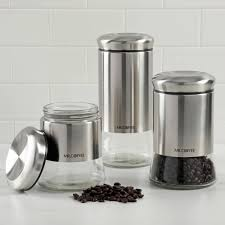 Glass Canister Sets For Kitchen Mercury Glass Canisters Mr Coffee Cache Glass Canister Set Set