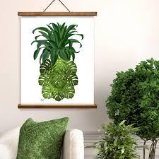 Tropical Decor Pineapple Print Tropical Decor Monstera Leaf Pineapple Wall