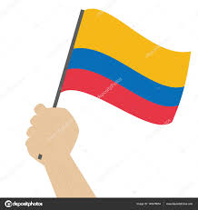 Holding The Flag Hand Holding And Raising The National Flag Of Colombia U2014 Stock