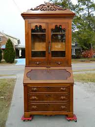 secretary desk with bookcase walnut victorian slant front secretary desk with bookcase top c 1865