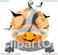 cartoon of a halloween jackolantern pumpkin with a witch hat