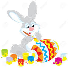 big easter bunny easter bunny decorating a big easter egg royalty free cliparts