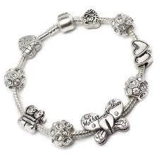 butterfly bracelet charms images Mother daughter butterfly silver charm bracelet 20cm JPG