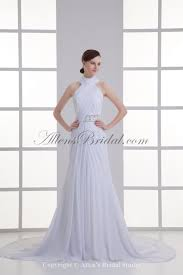 Chapel Train Wedding Dresses Allens Bridal Chiffon High Collar Neckline Column Chapel Train