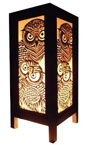 Lamps Home Decor Thai Vintage Handmade Asian Oriental Handcraft Night Owl Bird