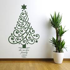 personalised xmas tree wall sticker by spin collective personalised xmas tree wall sticker
