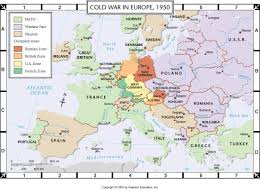 Europe Outline Map by Atlas Map Cold War In Europe 1950