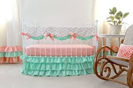 chevron girls bedding mint peach crib bedding bumperless baby bedding peach