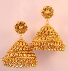 jhumka earrings gold buy earrings jhumka chandelier gold plated temple jewellery online