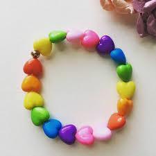 rainbow heart bracelet images Rainbow heart beads fairy kei bracelet gifts for teens pastel jpg