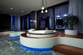 spa bathroom designs modern spa bathroom design with circle bathtub blue lighting