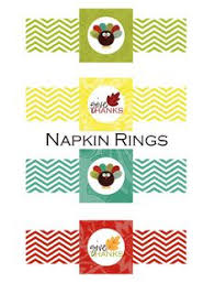 napkin rings or drink bottle labels thanksgiving