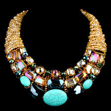 choker necklace handmade images Handmade turquoise blue and crystal statement choker necklace jpg