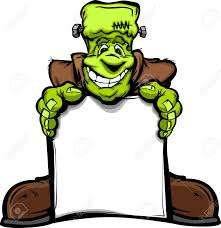 cartoon image of a happy halloween monster frankenstein head