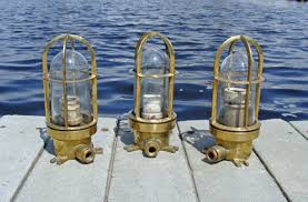 Ship Lighting Fixtures Authentic Vintage Brass Ships Passageway Or Engine Room Light