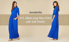 annabelle women u0027s 3 4 sleeve long maxi dresses with side pockets