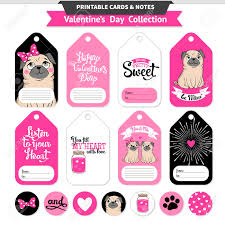 printable stickers valentines valentines day printable set wih funny pugs and lettering vector