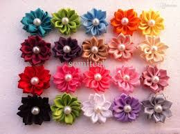 wholesale hair accessories hot sale baby hair flowers accessories satin ribbon flowers with