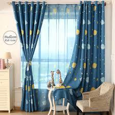 rideaux chambre d enfant bleu de bande dessinée planète étoiles rideaux pour chambre d