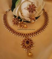 fashion jewellery necklace sets images Red imitation jewellery necklace set with price south india jewels jpg