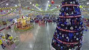 New Year Decoration In Dubai by Christmas White Castle Instalation In Dubai Mall Stock Footage