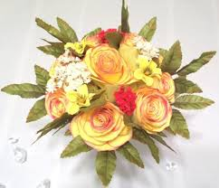 yellow roses with tips yellow paper roses with colored tips and silk flowers for a