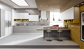 awesome white and yellow kitchen decor with contemporary pendants