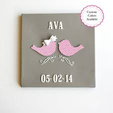 Nursery Bird Decor Rich Pink Canvas 10x10 Modern From Lucky Crickets Lucky