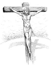 jesus on cross pencil drawing sketch coloring page