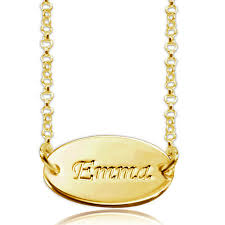 custom made name necklaces name necklace 18 k gold sterling silver oval nameplate custom made