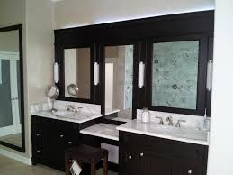 Wooden Mirrored Bathroom Cabinets L Shaped Brown Finish Mahogany Cabinet Unframed Oval