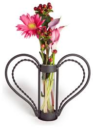Heart Shaped Glass Vase Clear Glass Cylinder Flower Vase With Heart Shaped Iron Stand