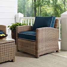 crosley furniture bradenton outdoor wicker arm chair with navy