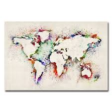 World Map Canvas Art by Michael Tompsett U0027world Map Paint Splashes U0027 Medium Canvas Art By