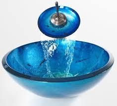 Bathroom Bowl Vanities Blue 19mm Glass Vessel Sink And Waterfall Faucet Modern Bathroom