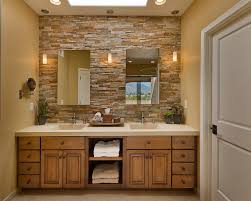 pine bathroom wall cabinet with traditional pendant lights