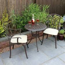 Tesco Bistro Chairs Buy Charles Bentley Cast Aluminium Bistro Set With Beige Cushions