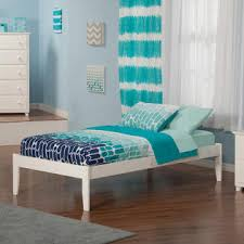 greenhome123 white modern solid wood platform bed frame in size