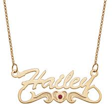 plated gold name necklace simulated birthstone with heart and scroll name necklace in sterling