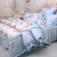 Flower Bed Sets Princess Blue Yellow Flower Bedding Sets Cotton