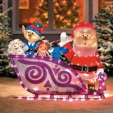 outdoor 2d decor ligthed rudolph santa s sleigh