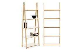 one step up bookcase high white steel and ash