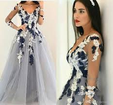 2017 new prom dresses v neck illusion long sleeves lace