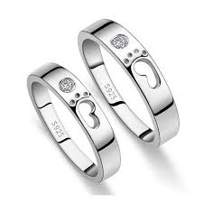 love promise rings images Footprints of love quot sterling silver matching couple promise rings jpg