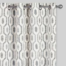Curtains Set Gray Geo Print Jackson Grommet Top Curtains Set Of 2 World Market