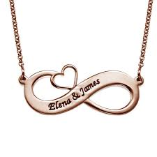 infinity necklace with initials engraved infinity necklace with cut out heart gold plated