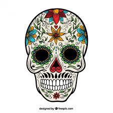 floral sugar skull vector free